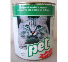 Pet Katze masové kocky so srdcom pre mačky 855g