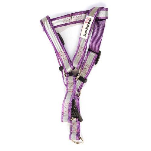 Reflexný ľahký postroj Doodlebone fialový
