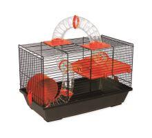 Klietka SMALL ANIMAL Patrik čierna s červenou výbavou 1ks
