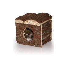 Domeček dřevěný s kůrou -křeček