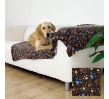 Flízová deka Laslo s tlapičky 100 x 70 cm - tmavo hnedá