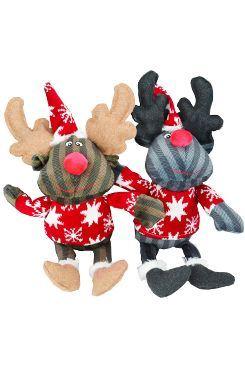 Vianočný Hračka pes Sob šedý, hnedý 42cm TR 1ks
