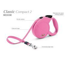 Vodítko FLEXI Classic Compact 2 (M) 5m/25kg Pásek, ružová VÝPREDAJ