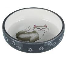 Keramická miska pro kočky s krátkým nosem 0,3l/15cm šedo/bíl