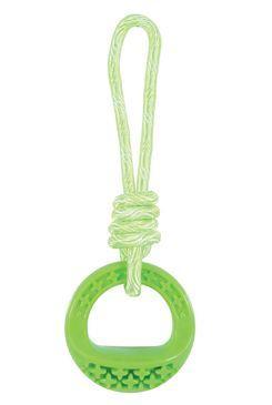 Hračka pes TPR SAMBA krúžok s lanom zelená Zolux