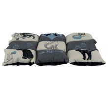 Farebná mäkká podložka PATCHWORK mačka 55x45cm sivá / modrá