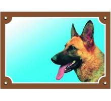Farebná ceduľka Pozor pes Nemecký ovčiak profil