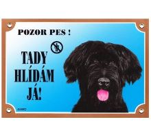 Farebná ceduľka Pozor pes Briard čierny