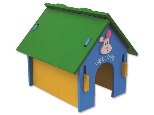 Domček SMALL ANIMAL drevený farebný 24,5 x 22,5 x 23 cm 1ks