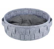 Okrúhly pelech Lennie prepletený 45 cm šedý