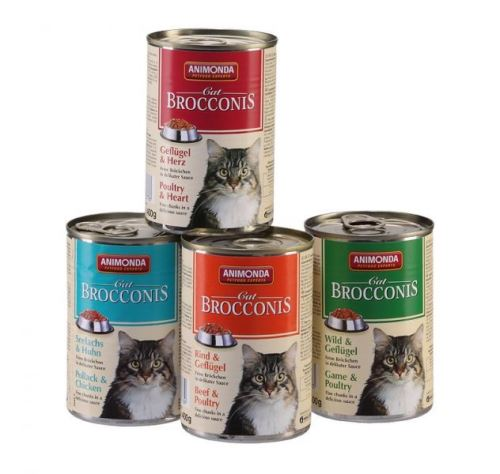 Animonda konzerva BROCCONIS - kura, srdce pre mačky 400g