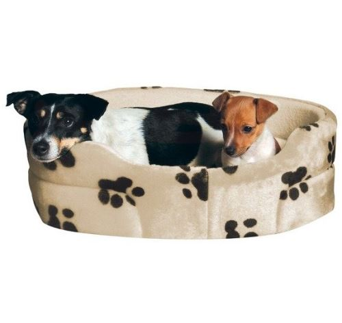 Pelech pre psy CHARLY ovál Béžový s čiernymi labkami 50x43cm