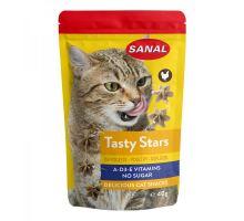 SANAL Cat Tasty Stars Poultry - hvězdičky s př. drůbeže 40 g exp.01/2019  VÝPREDAJ