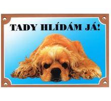Farebná ceduľka Pozor pes Americký koker ležiace