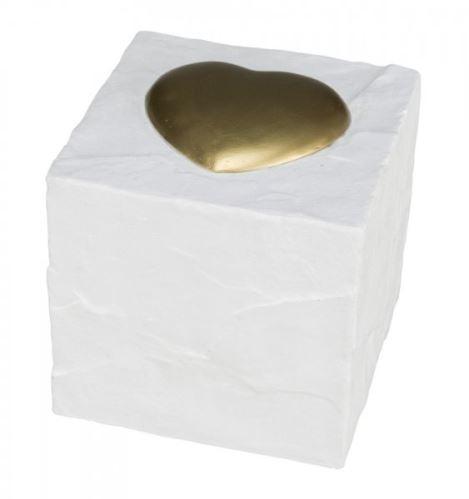 Náhrobný kameň kocka so srdiečkom, biela 11 x 11 x 11 cm