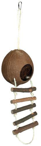 Kokosový domček pre škrečky s rebríkom 13 x 56 cm
