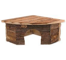 Domček SMALL ANIMAL Rohový drevený s kôrou 30 x 30 x 16 cm 1ks