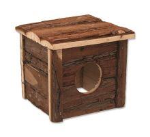 Domček SMALL ANIMAL drevený s kôrou 15,5 x 15,5 x 14 cm 1ks