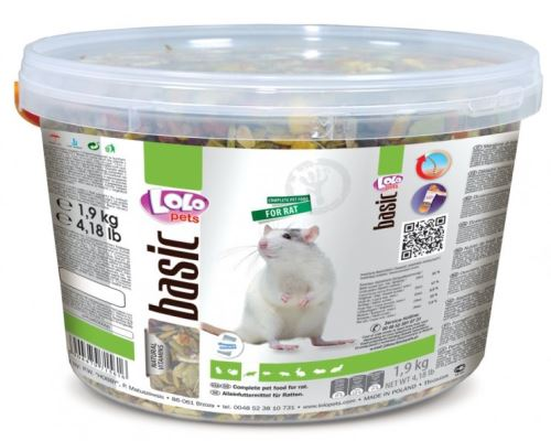 Lolo BASIC kompletné krmivo pre potkany 3 L, 1,9 kg kýblik