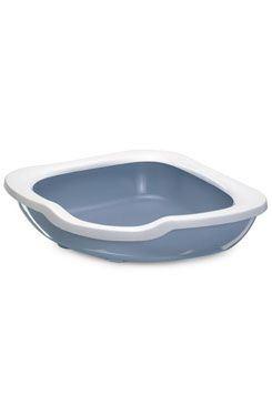 WC mačka rohové s vysokým okrajom modrá 51x51x15,5cm