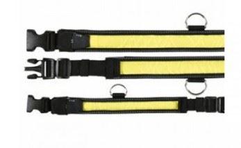 Obojek blikací nylon žluto/černý VÝPREDAJ