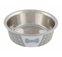 Nerezová miska so silikónovým opláštením bielo / šedá