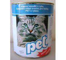 Pet Katze masové kocky s rybou pre mačky 855g