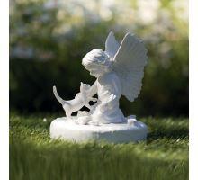 Náhrobný kameň mačka s anjelikom, biely 12 x 14 cm