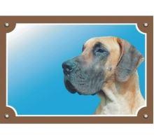 Farebná ceduľka Pozor pes Doga nemecká