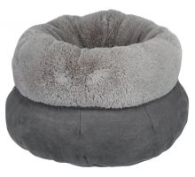 Okrúhly pelech ELSIE s kožušinou 45 cm, sivý / svetlo šedý