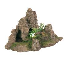 Dekorácie skala + jaskýň a rastliny 22cm