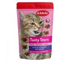 SANAL Cat Tasty Stars Salmon-hvězdičky s příchutí lososa 40g  VÝPREDAJ