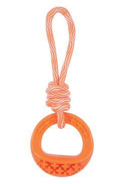Hračka pes TPR SAMBA krúžok s lanom oranžová Zolux