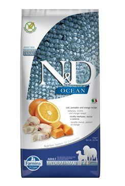 N & D OCEAN DOG GF Adult M / L Codfish & Pumpkin & Orange 12kg