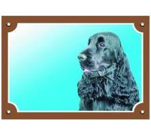 Farebná ceduľka Pozor pes Anglický koker čierny