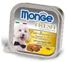 MONGE FRESH - paštéta a kúsky s kuracím 100 g pre psov