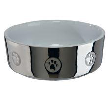Keramická miska pre psov s labkami strieborno / biela