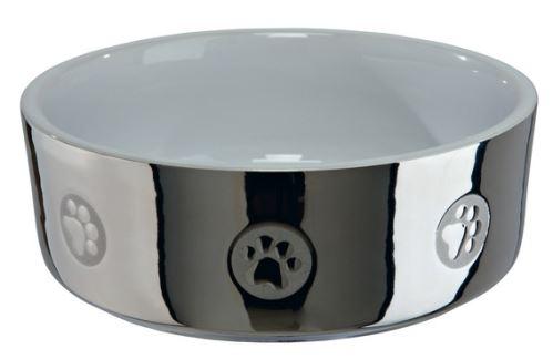 Keramická miska pre psov s labkami strieborno / biela 0,8 l / 15 cm strieborno / biela  VÝPREDAJ