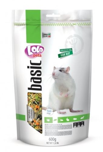 Lolo BASIC kompletné krmivo pre potkany 600 g doypack