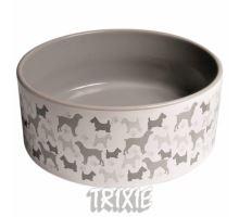 Keramická miska - biela / sivý motív pes