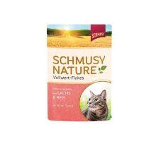 Schmusy Cat Nature Flakes vrecko losos + ryža + šťava 100g