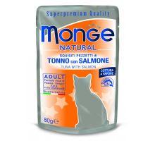 Monge Natural kapsička tuniak v želé s lososom pre mačky 80g 10 ks