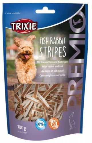 Premio FISH RABBIT STRIPES kousky s rybou a králíkem 100 g