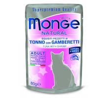 Monge Natural kapsička tuniak v želé s krevetami pre mačky 80g