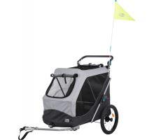 Vozík za bicykel, s funkciou rýchleho skladania L 74 x 95 x 103/143 cm šedý