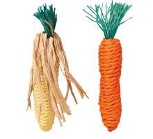 Sisalové mrkvička a kukurice pre hlodavce 15 cm (2 ks)