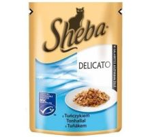Sheba vrecko Delicato tuniak v želé 85g