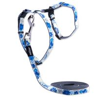 Postroj ROGZ s vodítkom GlowCat Blue Floral XS 1ks